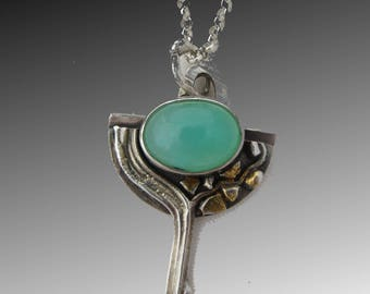 Chrysoprase Natural Stone Necklace with Waterfall and Keum Boo 23 Karat Gold Stones, Sea Green Gemstone, Silver Necklace