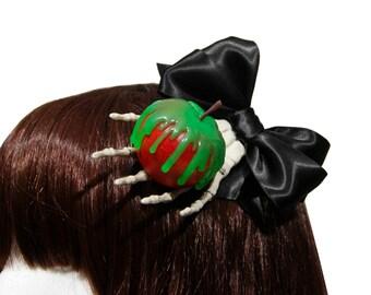 Poison Apple and Skeleton Hand Hair Clip