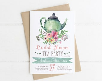 Tea Party Bridal Shower Invitations, Wedding Shower Invite Printable, Tea Pot, Florals, Watercolor, Bride Luncheon, Summer Bridal Shower