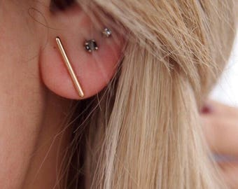 Feature gold plated 750 - Stud Earrings, studs - gold plated earrings ear cuff 18 k