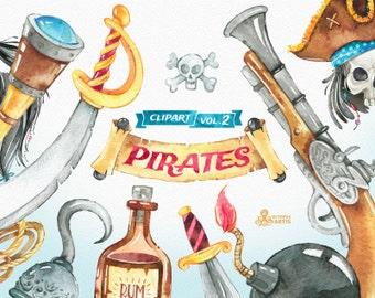 Pirates vol.2 Watercolor Clipart. Jolly Roger, nautical, skull, beard, rum, guns, boys, spyglass, adventure, treasures, diy, quote, legend