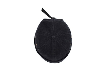 Abrim Hat- Brimless Black Denim Cap