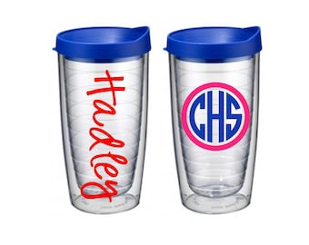 Personalized 16oz Double Wall Acrylic Tumbler {Royal Blue Lid}