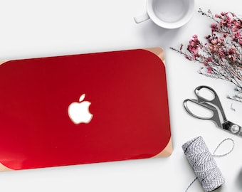 Macbook Pro 13 Case Macbook Air Case Laptop Case Macbook Case . Lipstick Red with Rose Gold Chrome Edge            - Platinum Edition