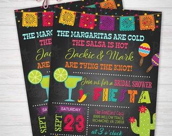 Bridal Shower Fiesta Invitation Engagement Party Bachelorette Margaritas Chalkboard Digital Download Printable Mexican Theme Wedding