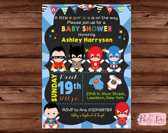 Superhero Baby Shower Invitation - Super baby shower invitation - baby superhero invitation - Baby shower invitation. DIGITAL FILE