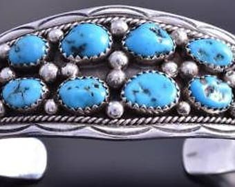 Vintage Silver Sleeping Beauty Turquoise & Coral Navajo Bracelet by IC 8A08H