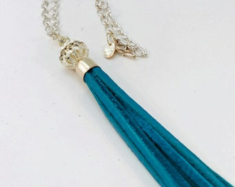 Handmade Necklace, Glitzy Silver Bead Accent, Deep Sky Blue Leather Tassel, Sterling Silver Chain