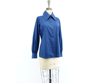 Vintage Navy Blouse 1960s Blue Shirt Button Down Blouse Mod Navy Blouse Button Down Shirt Big Collar Blouse Judy Bond Copper Button Blouse m