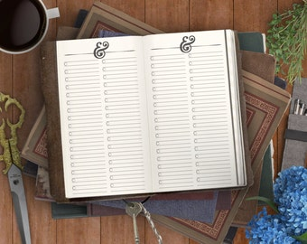 Ampersand Lists Printable Insert, Todo List Insert for your Traveler's Notebook. Planner Downloads for Fauxdori Refills & Midori Refills.