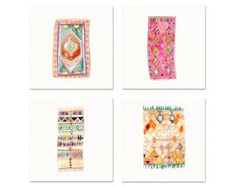 Moroccan Rug Watercolor Art Prints. Boho Watercolor Moroccan Rug Art. Boho Chic Dorm Decor. Gallery Wall Prints. Modern Nursery Art Prints.