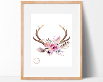Floral Deer Antlers Wall Print_0029WP