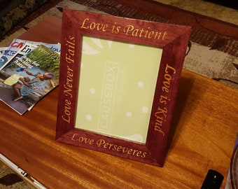 Custom wood inlay picture frame