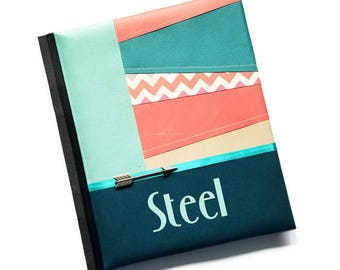 Paper Piece Sewn Teal Rust Arrow Baby Memory Book Steel