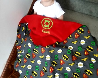 Green Lantern Inspired Fleece Baby/Kids Blanket - Personalized Name  - Super Hero - Baby shower gift - unique gift - Justice League- crib