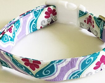 Purple & Aqua Damask Collar for Female Dogs and Cats