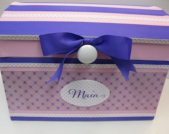 Nursery Storage Chest / Pink and Purple Fleur de Lis to Match your nursery decor