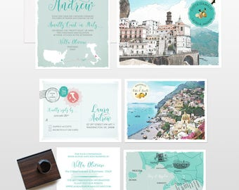 Destination wedding invitation Amalfi Coast Italy Positano Atrani Sorrento wedding invitation RSVP Illustrated invitation Deposit Payment