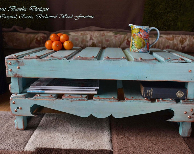 Bespoke Country Cottage Rustic Reclaimed Wood Coffee Table Duck Egg Blue with Copper Edging & Copper Tacks Handy Under Shelf Storage
