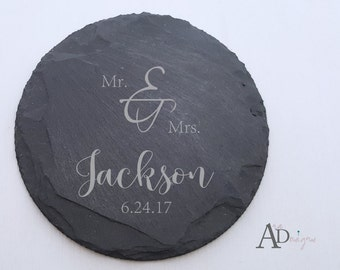 Personalized Slate Coasters Engraved Personalized Coaster Custom Coaster Personalized Wedding Gift Housewarming Gift Couple Gift 3