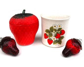 1950s Milk Glass Strawberry Sugar Bowl Canister & Tea Cup Mid Century - Mix and Match Set Vintage Fruit Berry Garden Coffee Mug Jar Decor