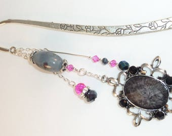 "Large bookmark jewel ""gray cabochon from India"""
