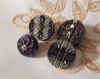 Purple Tint  and Silver Luster on Black Glass Antique Buttons - 4