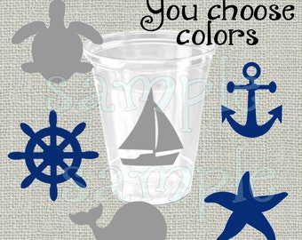 24 Assorted nautical vinyl decals nautical party Birthday party decoration sailing birthday party vinyl cup sticker party cup stickers sea