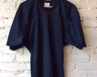 Vintage Football Jersey / Adult Size Medium / 80s 1980s / Made in USA / Navy Blue / Blank