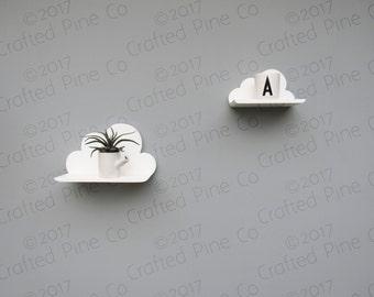 Wooden cloud shelf - pine cloud shelf - hand made decorative shelf