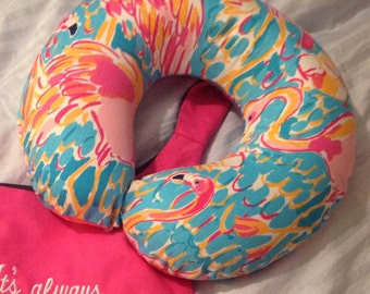 Lilly Pulitzer inspired Travel Neck pillow cover
