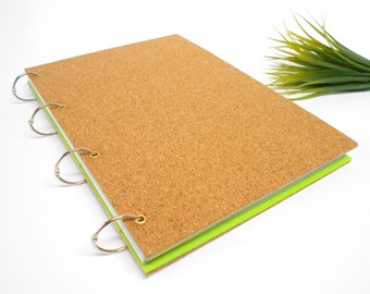 Cork hardcover sketchbook journal with 100 recycled pages- rustic blank sketchbook journal for writing and drawing- A3, A4, A5, A6