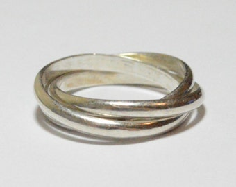 Vintage Sterling Silver Triple Rolling Band Size 7