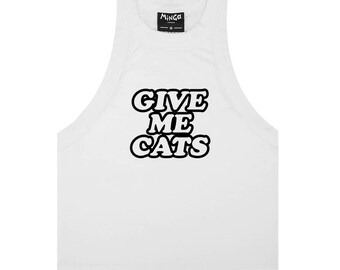 Give Me Cats Tank Top Crop T Shirt Tee Womens Fun Tumblr Hipster Grunge Goth Kawaii Harajuku Slogan Fashion Cute 90s Feminist Celebs Kitty