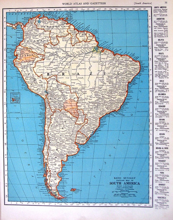 Items similar to map of south america map of venezuela 1937 items similar to map of south america map of venezuela 1937 vintage rand mcnally map world atlas 2 sided 14 x 11 on etsy gumiabroncs Choice Image