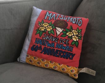 Matsumoto Shave Ice Pillow - Upcycled Tshirt and Coordinating Fabrics - Tooth Fairy Secret Pocket