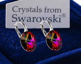 925 Sterling Silver Leverback Earrings *VOLCANO* Genuine 12mm Crystals from Swarovski®