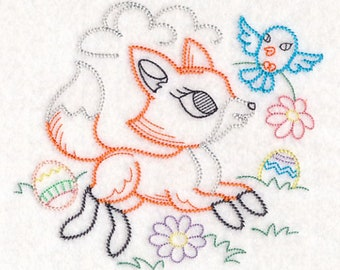 Easter Fox Embroidered Flour Sack Towel, Embroidered Easter Fox Towel, Easter Fox Towel, Easter Towel, Vintage Style Fox Towel