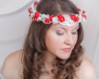 Bridal flowers hairpiece, Flower girl red & white headpiece, Halo, Red flowers crown, Head wreath, Forehead, Red headband, Red flowers boho