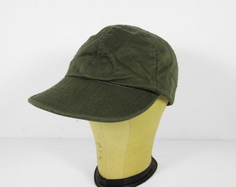 Vintage US Navy Utility Cap Green Faded Military Bill Fitted Hat - Size Small