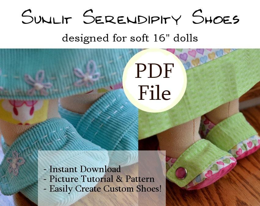 Waldorf Puppe Schuhe PDF Muster 15 16 weiche Puppe