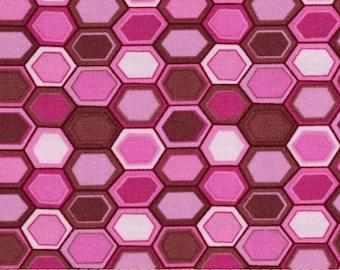 1 Yard Woodland Wonderland AFGHAN HEXAGON Honeycomb JY10 Pink Jay McCarroll Free Spirit Quilting Sewing Fabric