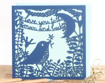 Love you to the moon card, Mother's Day card, Card for mother, Card for mum, Card for mom, Card for girlfriend, Card for wife, Love you card
