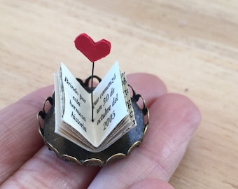 Tiny Book with Personalised Message and Heart, Gift for Him, Miniature Book, Paper Art, Mini Book for Anniversary, Book Lover