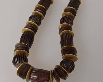 Vintage massive necklace wood brass/ Large Beaded Statement Necklace/1960s