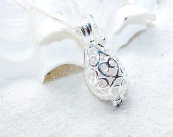 Sea Glass Jewelry, Sea Glass Wedding, Wedding Locket, Sea Glass Necklace, Bridal Gift, Beach Wedding, Teardrop Necklace