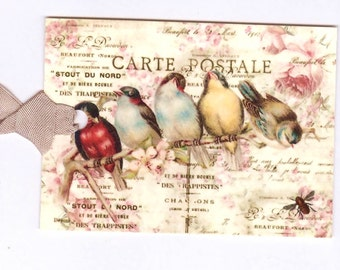 Bird Gift Tags -  Vintage Style -  Birds and Bee on Pink Roses by Bluebird Lane