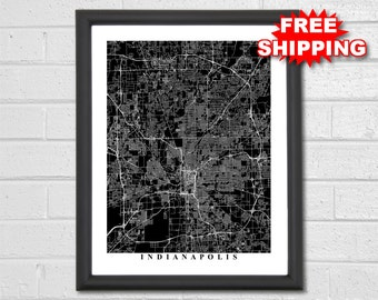 Indianapolis Map Art - Map Print - Black and White - Indiana - Modern - Office Decor - Hometown - World Map - Personalized - Custom
