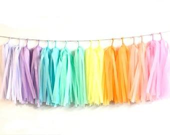 DIY set of 18 Tissue Tassel Garland /Fringe tassel garland /party decor /wedding decoration / birthday party /birthday decoration/Room decor