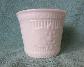 Milk Glass Planter, white glass plant pot, flower vase